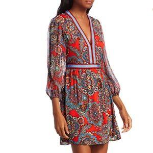 Alice + Olivia Jaida Deep V-Neck Blouson Dress